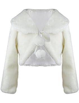 Faux Pelz Mädchen Shrugs Langarm Winter Wärmer Jacke für Kinder Brautjungfer Elfenbein Tippet Für Party Hochzeit