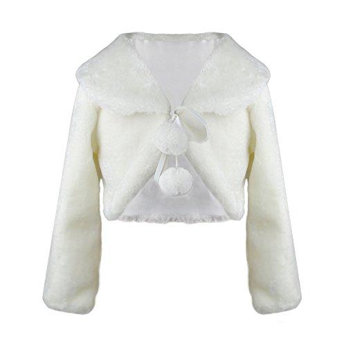 Faux Pelz Mädchen Shrugs Langarm Winter Wärmer Jacke für Kinder Brautjungfer Elfenbein Tippet Für Party Hochzeit (Mittel, Elfenbein)