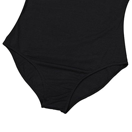 CHICTRY Tanz-Body Damen elegant Bodysuit Ärmellos Shirt Elastischer Body Tops Overalls Jumpsuit Ballett Trikot Ballettanzug #1 Schwarz