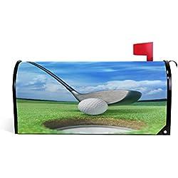 Wamika Golfball auf Lippe in der Nähe von Bunker Welcome, magnetischer Briefkasten-Abdeckung, Umschlag für Gras und blauem Himmel, Standardgröße, für Makover oder Garten