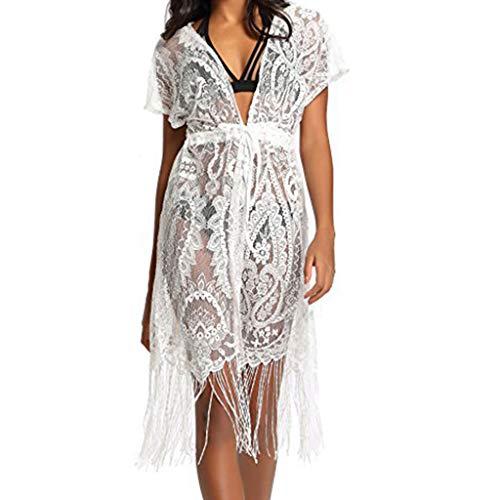 Kuangkk Damen Kimono-Cardigan mit kurzen Ärmeln und V-Ausschnitt, gehäkelt, Blumenmuster, Spitze, Kordelzug, Lange Quasten, Midi-Strandkleid Gr. X-Large, weiß (Spitze Gehäkelte Pullover)