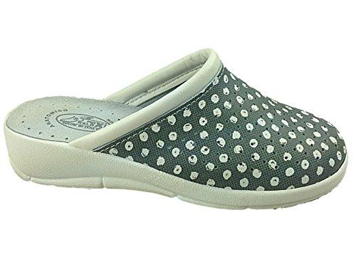 Foster Footwear , Sandales Compensées femme Grey/Polka Dot