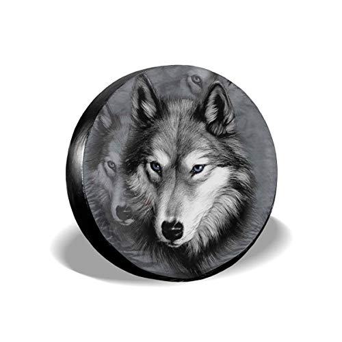 Vbnbvn Reserveradabdeckung, Wolf Potable Polyester Universal Spare Wheel Tire Cover Wheel Covers for Jeep Trailer RV SUV Truck Camper Travel Trailer Accessories(14,15,16,17 Inch)