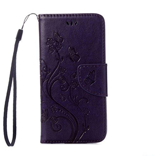 Pheant® Apple iPhone 7 (4.7 Pouces) Coque Étui en PU Cuir Housse de Protection étui à rabat Portefeuille Pochette Cas Papillon Motif de daufrage Violet foncé Violet foncé
