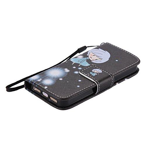 SpiritSun Etui Coque pour Apple iPhone 5C Mode PU Cuir Housse de Protection Pochette Folio Cas Cover Wallet Case à Rabat Magnétique Couverture Anti Choc Housse Fente Carte avec Stylet et Bouchon Anti- Fille Mignon