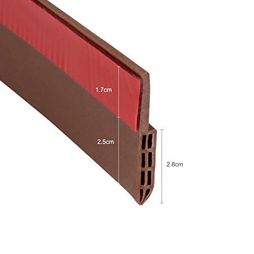 Coquimbo Burlete bajo puerta burlete autoadhesivo de goma de silicona aislamiento acústico / a prueba de viento / tira de sellado a prueba de polvo (marrón)