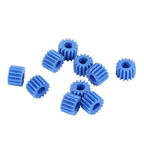 D-förmiges Wellen-Spindel-Zahnrad, 10 Stück Kunststoff, 15 Zähne, blaue Farbe für Flugmodelle, Automobile, Boote, Roboter und andere kleine wissenschaftliche und technologische Erzeugnisse