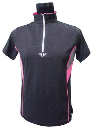 TuffRider Damen Poloshirt mit Reißverschluss, kurzärmelig, belüftet, Neonfarben, Damen, anthrazit, Large