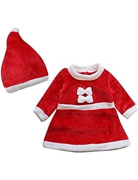 Le SSara Kids im Winter Weihnachten Cosplay Kleid Neugeborenen Kostüm Outfit Hut 2pcs