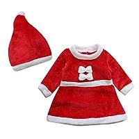 Le SSara 2pcs Dress Cosplay inverno del bambino di natale Neonato Costume  Hat Outfit (0-6 Mesi)