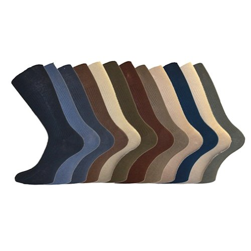 Mens ALER BIG FOOT Loose Top LARGE SIZED Socks - Assorted COLOURS - (Size 11-14) 12 PAIRS!