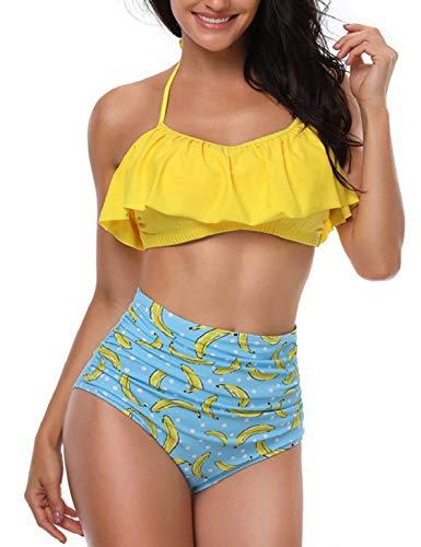 Bikini amarillo dos piezas ☀ con volantes y braga de cintura alta