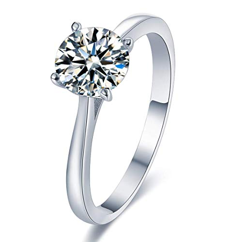 Sreema London 925 Sterling Silver Crystal 4-Claw Set 1.25CT Round 7mm CZ Solitaire Love Forever Engagement Promise Eternity Bridal Wedding Rings with Gift Box (60 (19.1))