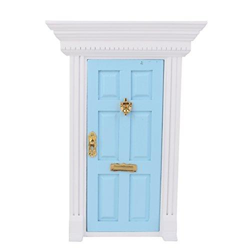 Porte en Bois Miniature pour 1:12 Maison de Poupée - Bleu