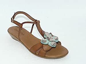 Sandales chaussures femme CUIR mode et confort marron.Pointure 40. PAULA URBAN.