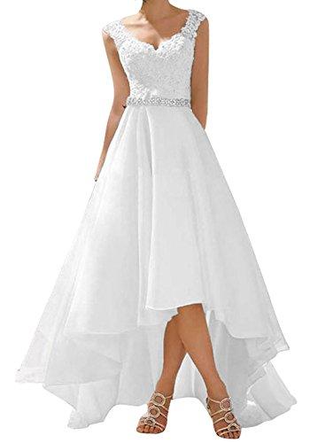 O.D.W Spitze Lange Kurze Rustikale Party Brautkleider Frauen Vintage Hochzeitskleider(Elfenbein, 38)