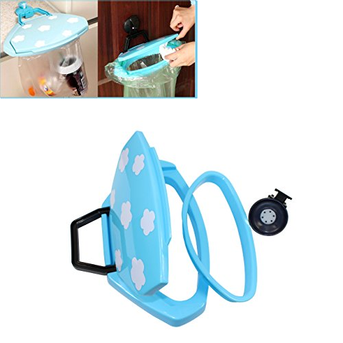 Trash Collapsible Hanging Garbage Bags, Sucker Clamshell Sink Trash Can with Cover, Abcsea 1PCS Trash Bag Holder for Kitchen Cabinets Doors and Cupboards (Random Color) - Cabinet Cover