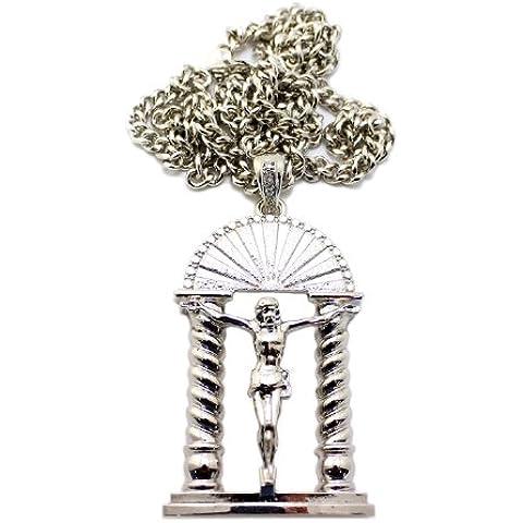 Gate of Heaven Crocifisso Gesù Ciondolo in argento tono w/91,44cm catena cubana cp75r