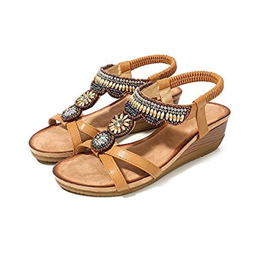 New Ethnic Style Sandals Women Retro Rhinestone Beaded Wedge Shoes Comfortable Open Toe Sandals Camel 36 Nina Ankle Strap Heels