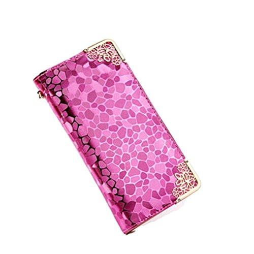 SYGoodBUY Frauen-Mappen-Leder-lange Reißverschluss-Mappen-große Kapazitäts-Muster-Stein-Kreditkarte-Halter luxuriös (Farbe : Rose Rot, Größe : Einheitsgröße) (Steine Portfolio)