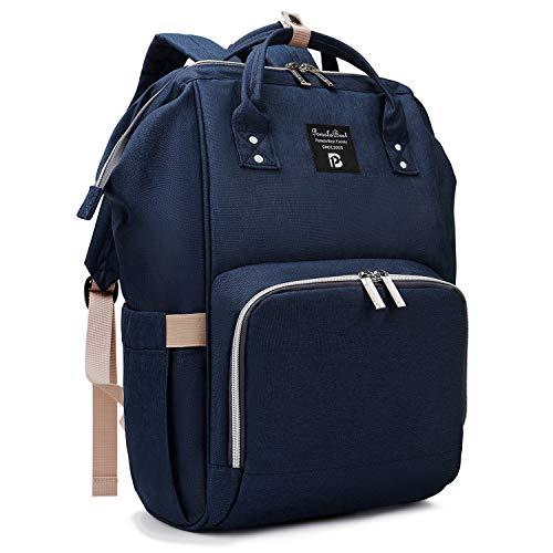 Baby Wickelrucksack Wickeltasche mit Wickelunterlage Multifunktional Oxford Große Kapazität Babyrucksack Kein Formaldehyd Reiserucksack für Unterwegs (Marine blau) -