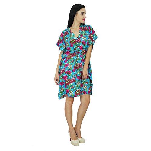 Bimba femmes imprimé floral Robe caftan Short Beach Cover Up Rayon Caftan Bleu