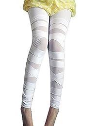 Femmes Taille Haute Leggings Bandage Jeggings - Femmes Leggins Net Look  Gothique Treggings Uni Couleur Skinny fc78e4ebcfde