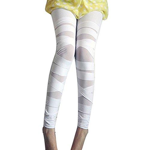 Damen High Waist Leggings Bandage Jeggings - Frauen Leggins Netz-Optik Gothik Treggings Einfarbig Skinny Hosen Sexy Modern Hibote (Netz-leggins Leggins)