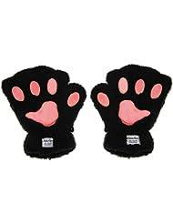 Greenery Guantes sin dedos para mujer, de cálido tejido de peluche, diseño de patas de gato, ideal para pantalla táctil, escribir o hacer deporte al aire libre, negro