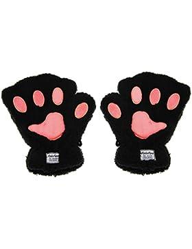 Guante pata de gato pata oso Aimable mitones pelo sintético guantes demi-doigt mitones Mujeres Guantes caliente...