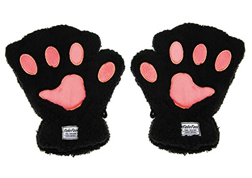 Girls Plush Claw Gloves Winter Gloves Warm Cat Gloves Middle Thick Fingers Model Thermal Bear Paws Nice Cute Sweet Women-Black