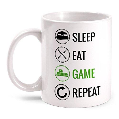 leep Eat Game Repeat - Tastatur beidseitig bedruckt mit lustigem Motiv | Geschenk Idee PC Gamer Online Computer Spieler, Farbe:weiß (Spaß-office-spiele)
