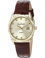 Peugeot 3045BR - Reloj de pulsera para mujer, tono dorado, correa de piel de color marrón