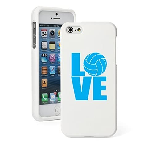Apple iPhone 5 5S White Rubber Hard Case Snap on 2 piece Light Blue Love Volleyball by heywan