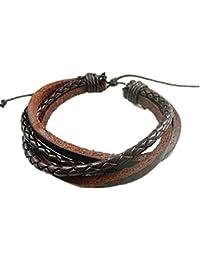 MULBA Cuero para hombre Cinturón de cuero pulsera de moda ajustable Muñequera Brazalete Sl2791