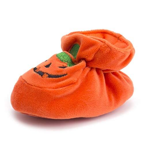 ELECTRI Mâle bébé Fille Citrouille d'halloween Cosplay Chaussures Baby en Daim pour Enfants Costume à Semelle Souple Citrouille Déguisement Accessoire pour Nouveau