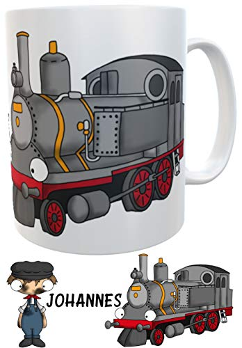 Kindertasse Eisenbahn Dampflok mit Wunschname - personalisierte