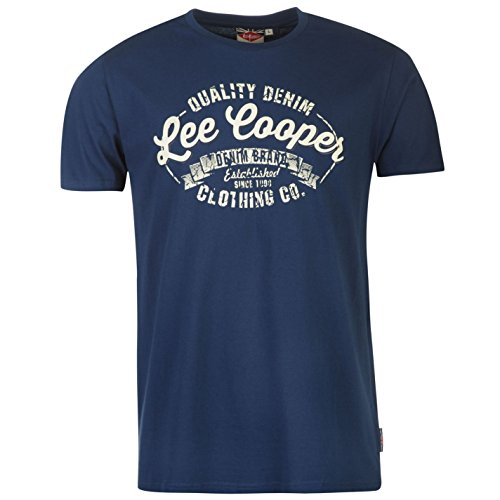 Lee Cooper Logo Vintage Camiseta Hombre Cuello Redondo Ropa Vestir Casual Azul x-large