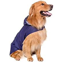 BPS® Chubasqueros Impermeables para Mascotas Perros, Impermeables con Capucha para Perro Mediano y Grande 3 Colores para Elegir con Material 100% Poliéster (Azul, 60cm) BPS-9114A
