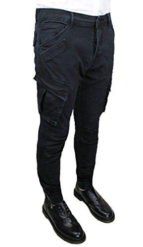 Pantaloni jeans uomo cargo nero slim fit casual con tasconi