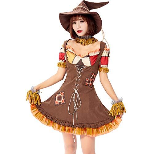 Jeff-chy Halloween-Party-Partei-Kostüm-Karneval Stiller Scarecrow Cursing Puppe Oz Land Cosplay Bühne Maskerade Damen (Umfang Messung Für Kostüm)