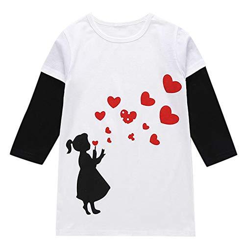 cinnamou Kleinkind Baby MäDchen T-Shirt Lange HüLsen Liebes Druckkleid üBersteigt Kleidung Herbst Winter Hemd Tops
