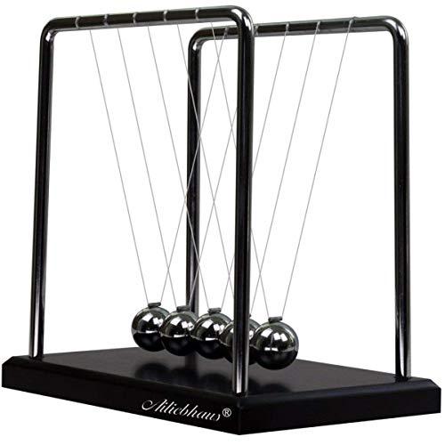 Ailiebhaus Newton Kugelstoßpendel Kugelspiel mit Sockel 18cm