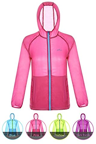 Motorun Fahrradregenjacke Damen Thin Waterproof Windjacke Fahrradjacke Zip Hoodie Outdoor Jacke Anti-Uv funktionsjacke Coat Radfahren Sweatshirt für Frauen(Rosa S)