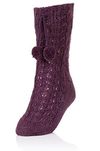 DINZIO Damen Halterlose Stoppersocken Gr. S-M 36-38, violett Knit Sherpa Boot