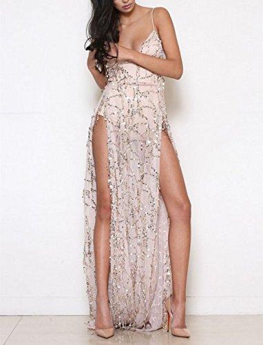 YELINGYUE Metall Lange Paillettenbesetztes Kleid mit Fransen Frauen Schlitz Dating Perspektive...