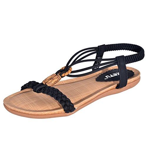 Minetom Damen Maedchen Sommer Böhmische Stil Perlen Peep Toe Flache Schuhe Flache & Slim alleinige Sandalen ( Schwarz EU 38 ) (Flache Capris Schwarze)