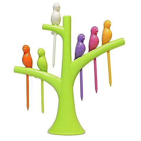 Swallowzy Birdie Fruit Gabel, Lovely Mini Cartoon Birdie Obst Gabel