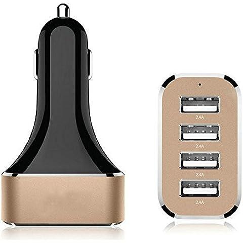 Mini Kitty Cargador de Coche Carga Rápida USB 4 Puertos con la Parte Inferior de Aluminio,Negro y Rosa