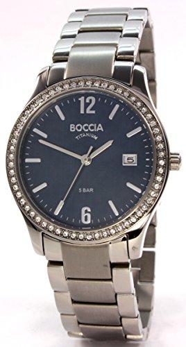 Boccia Damen Analog Quarz Uhr mit Titan Armband 3235-04